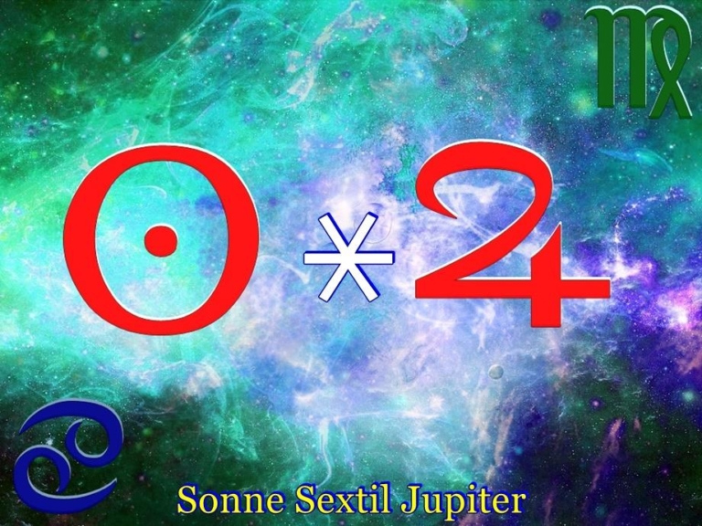 Sonne Sextil Jupiter Symbole